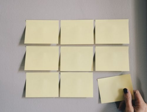 Photo of post-it note in a grid