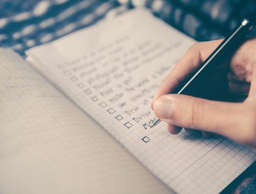 Photo of a checklist plan